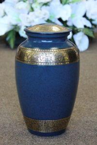 FM0611 Blue and Brass Metal Urn