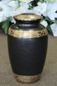 FM0626 Charcole and Brass Metal Urn